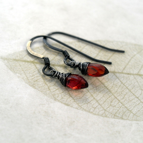 Trinket Box - Garnet Earrings with Oxidised Silver