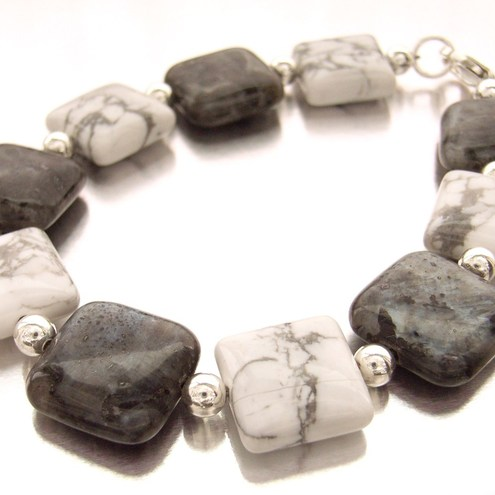 Monochrome larvakite and white howlite sterling silver bracelet £23.00