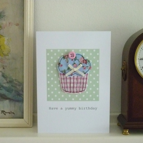 Crafty Little Greetings - Embroidered Cupcake Birthday Card