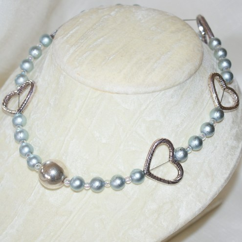Silver & Blue Heart Necklace