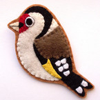 Goldfinch felt bird brooch from Lupin