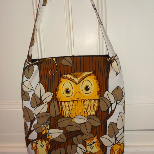 Rocks on - Vintage 70's owl material tote bag