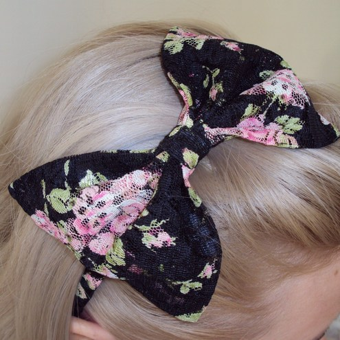 Something Different - Japanese Floral Lace Bow Hairband