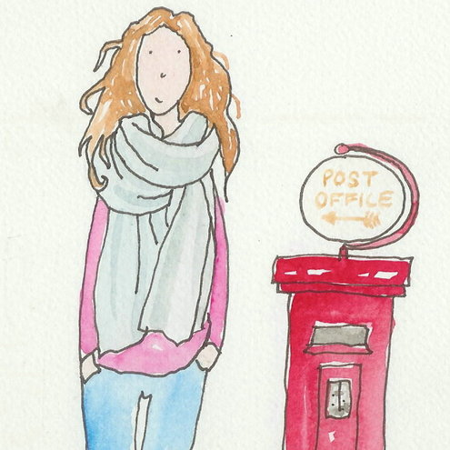 Andy Lanham Art - Girl & Post Box Illustration