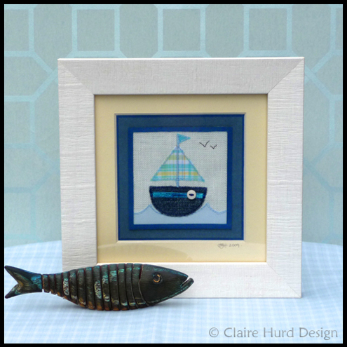 Claire Hurd Design-Framed Embroidered Boat