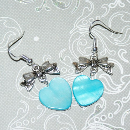 Turquoise shell & bow earrings