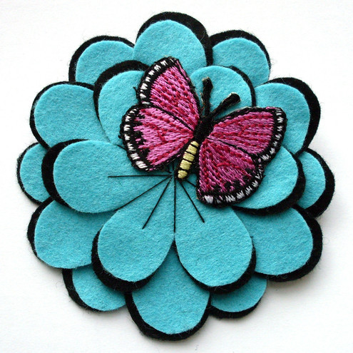 butterfly flower brooch