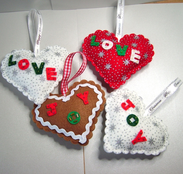 Hanging Felt Heart Christmas Decorations For Home Or Tree