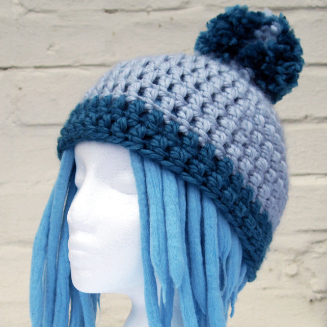 Silver Grey and Teal Crochet Bobble Hat grey and teal wedding