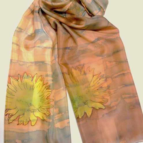 Hand Painted Silk Arts by Danushka - Summer Sunflower Silk Scarf