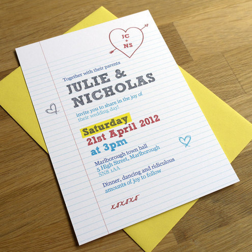 SCHOOL NOTEBOOK wedding invitation SAMPLE ONLY
