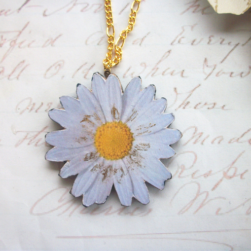 Daisy Wooden Flower Necklace