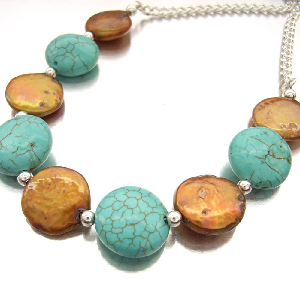 turquoise and pearl necklace by Blue Forest Jewellery
