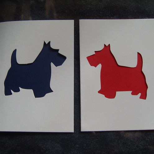 Harvey crafty Cards - Hand cut Scottie Dog Card