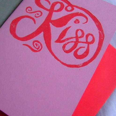 'Kiss' Linoprint Card by SomethingWonderfulDesign