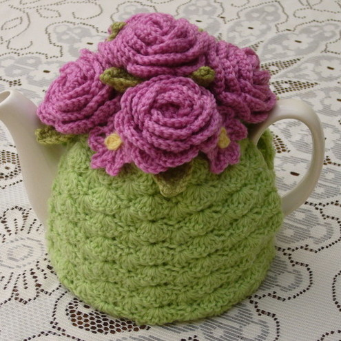 Free Crochet Pattern Small Tea Cozy : Crochet tea cosy in pink with flowers (made to order) on ...