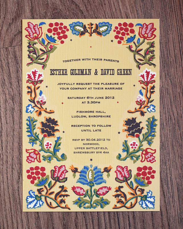 Folk Style Wedding Invitation with RSVP Card Envelope