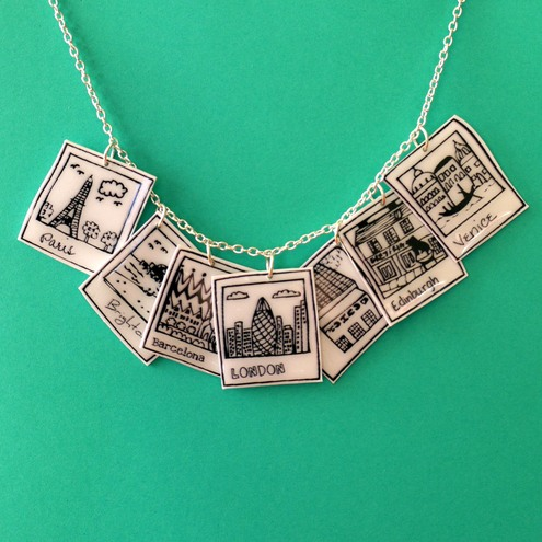 She Draws - Polaroid Cities Charm Necklace