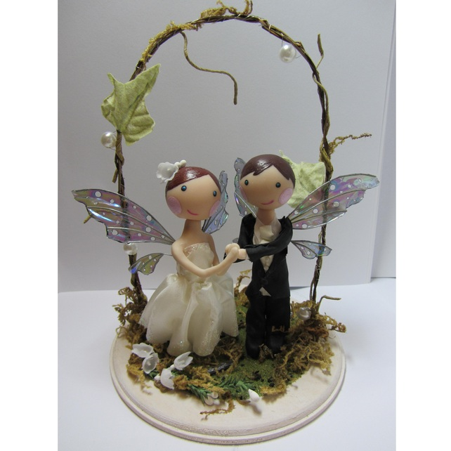 Custom Woodland Fairy Wedding Cake Topper