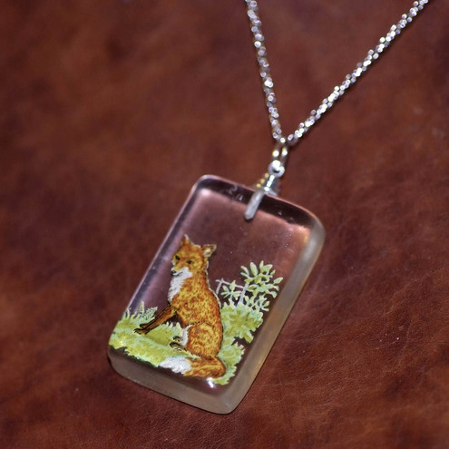 Fox woodland resin necklace Penny Dog Jewellery