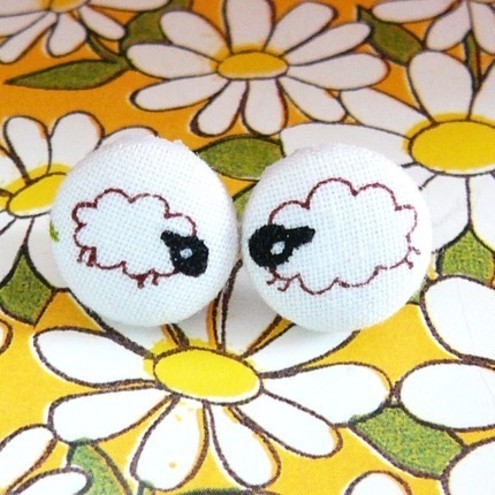 Fluffs Stuff - Sheep Stud Earrings