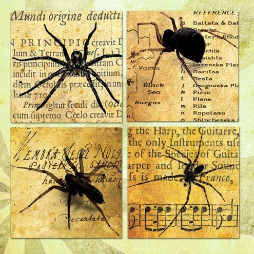 Rowan Tree Design - Spiders on Vintage Books Collage Sheet