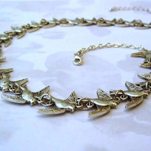 Whitefly - In Flight Bird Charm Necklace