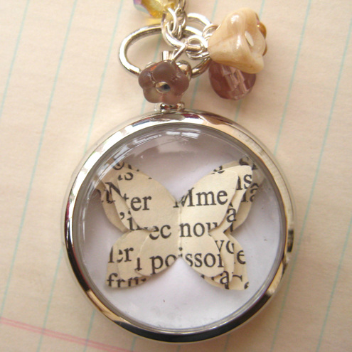 Button Boudoir - Pocket Watch Locket with Paper Butterfly