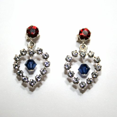 Red and blue crystal heart earrings