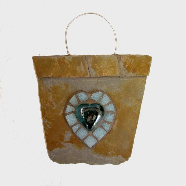 aqua glass heart and aqua mosaic which compliments the grey and tan c