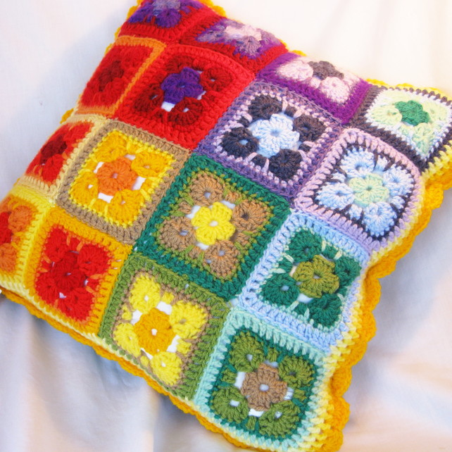 Reversible rainbow crochet cushion - Folksy Craftjuice Handmade Social Network