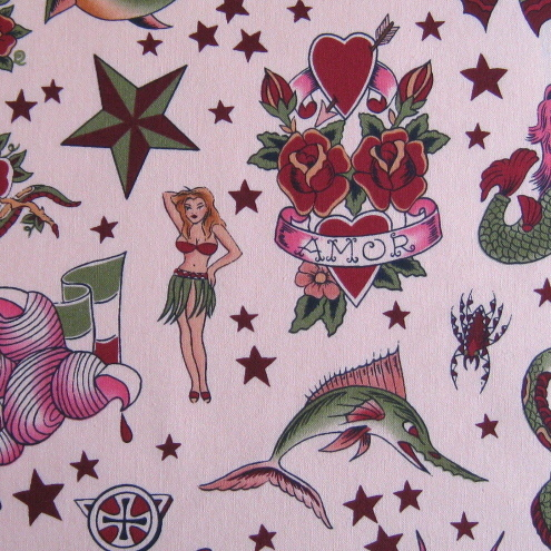 Alexander Henry Tattoo Cotton Fabric - 3 colours! (The seller is on holiday,