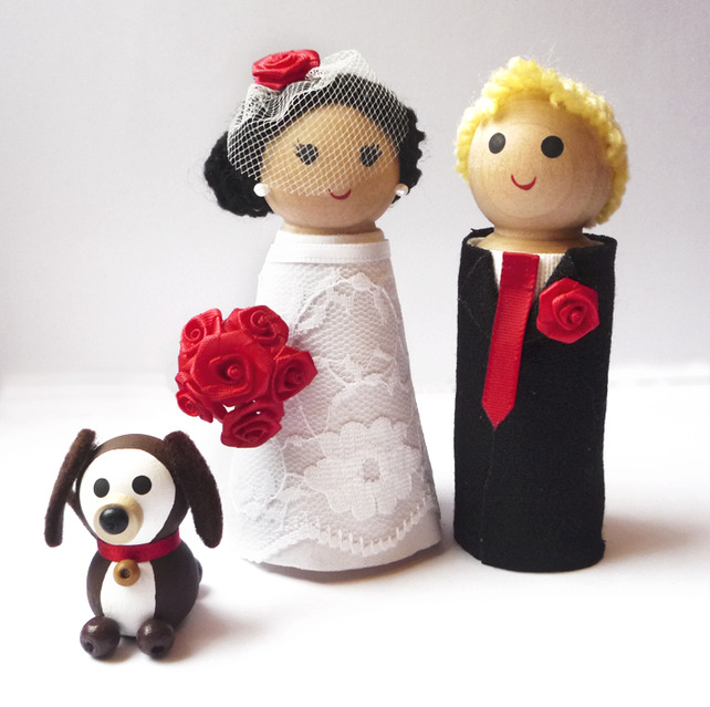 Wedding Cake Toppers Wooden Personalised Bride and Groom and 1 pet