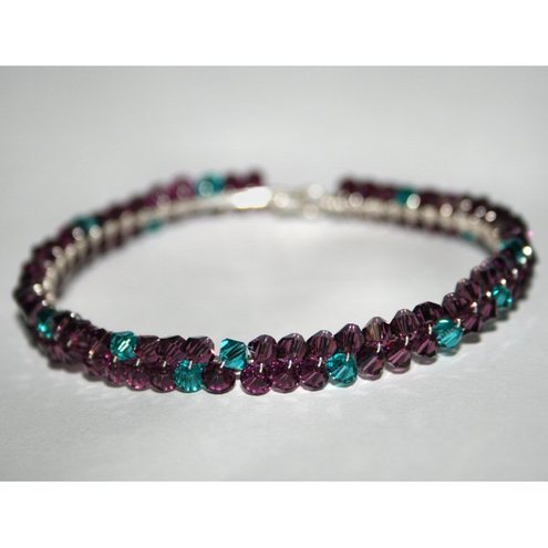 Swarovski Amethyst and Blue Zircon Crystal Bangle