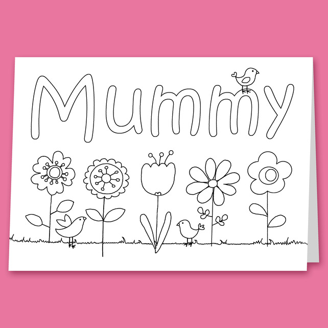 colour in mothers day card for children folksy - Pictures To Colour In For Children