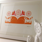 Sleeping foxes hand pulled Gocco print from Dee Beale