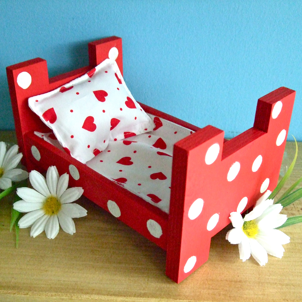 Hand Made Wood Bed For Children : ... Wooden Toy Bed for tired Sock Bunnies  Craftjuice Handmade Social