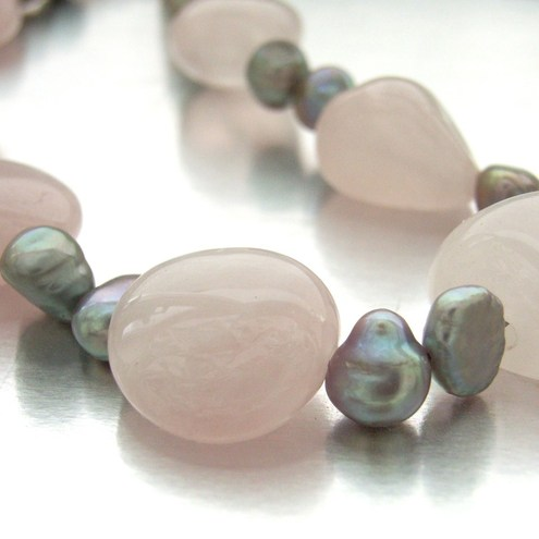 Pink and Grey necklace, by Blue Forest Jewellery