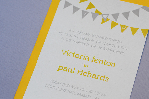 Bunting wedding invitation and RSVP postcard sample pack