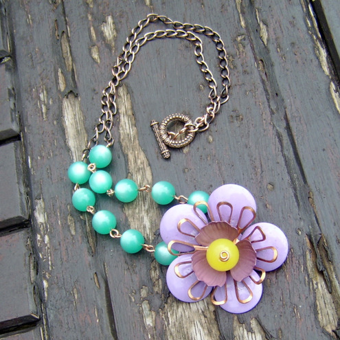 Vintage lilac flower necklace