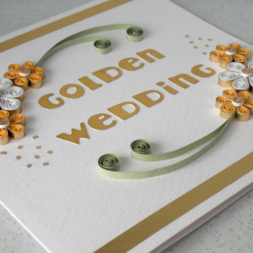 50th wedding anniversary card quilled