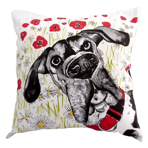 Cushion fearturing dog illustration, by sara norwood