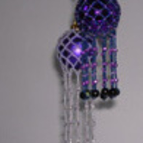 beaded Christmas netted glass ball ornament cover - Crafts and
