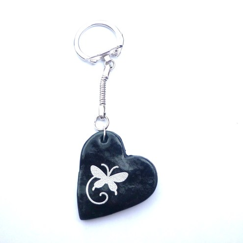 Buttons and Beads Gifts butterfly heart keyring