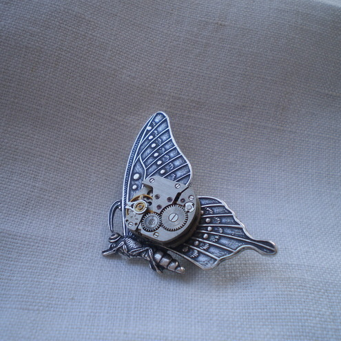 Steampunk Storm - Clockwork Butterfly Brooch
