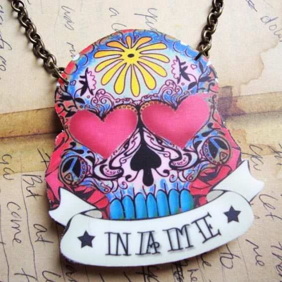 Customised Sugar Skull day of the dead tattoo necklace blu Rockabilly