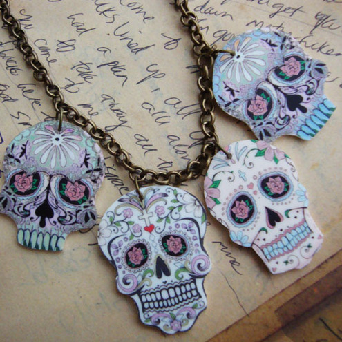 Sugar Skull Day of the Dead Tattoo necklace with 4 Mini Sugar skulls
