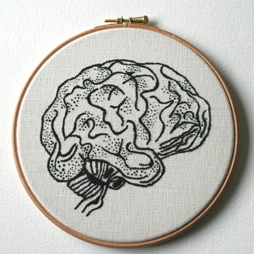 Sam Gibson - Brain Hand Embroidered Stitched Illustration Wall Plaque
