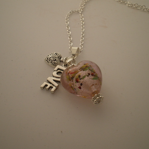 Pink Love Heart Necklace