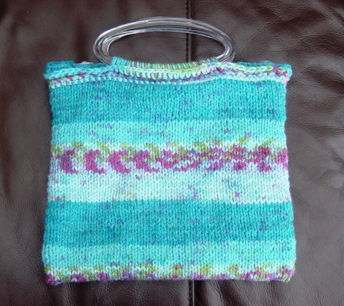 Aran Turquoise Stripe, Hand knitted & Crocheted handbag.